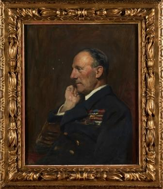Framed portrait of Admiral Sir John Jellicoe, Commander of the Grand Fleet painted by Sir Arthur Stockdale Cope, 1921