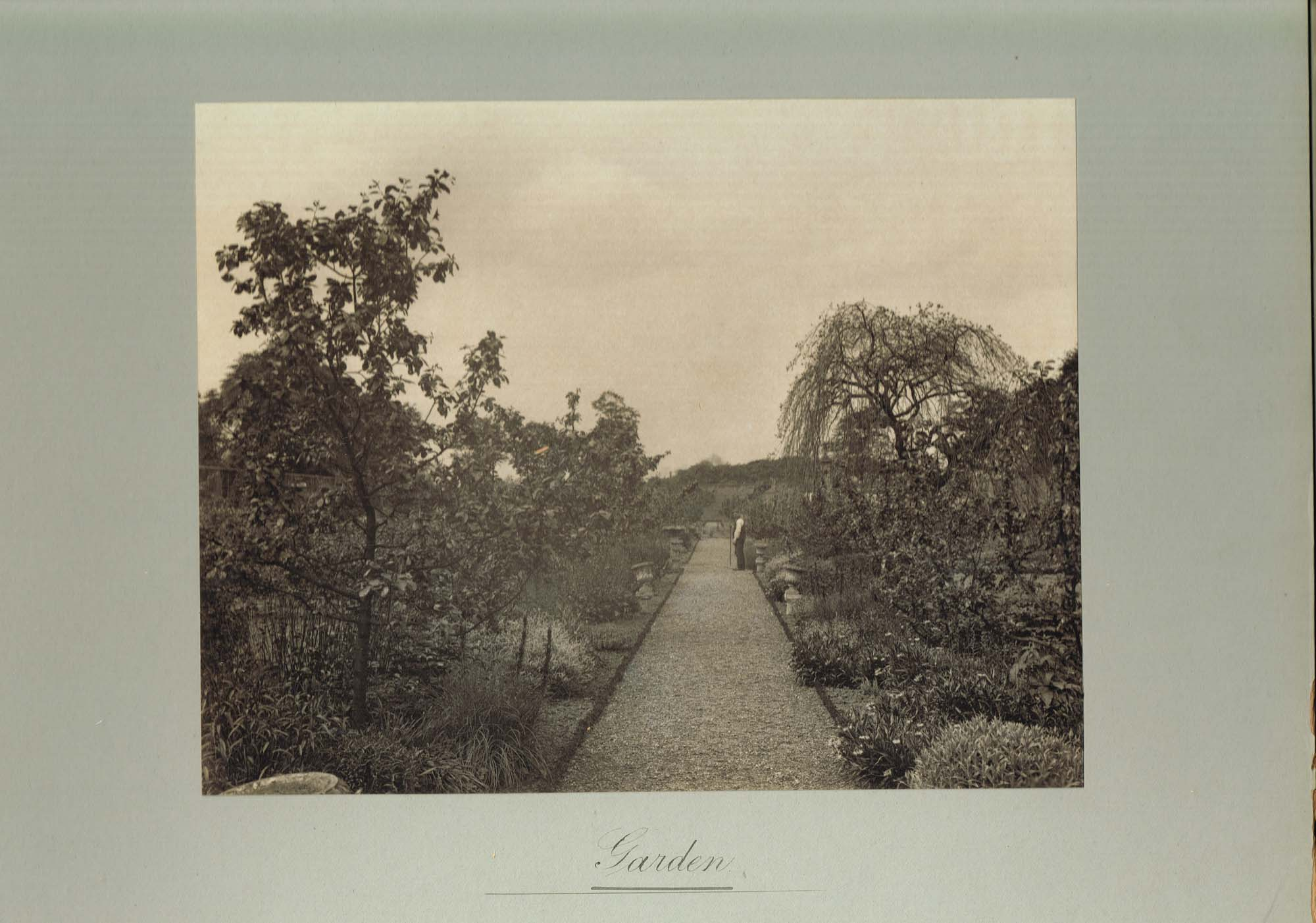 Black and white photograph of the garden at Ralston