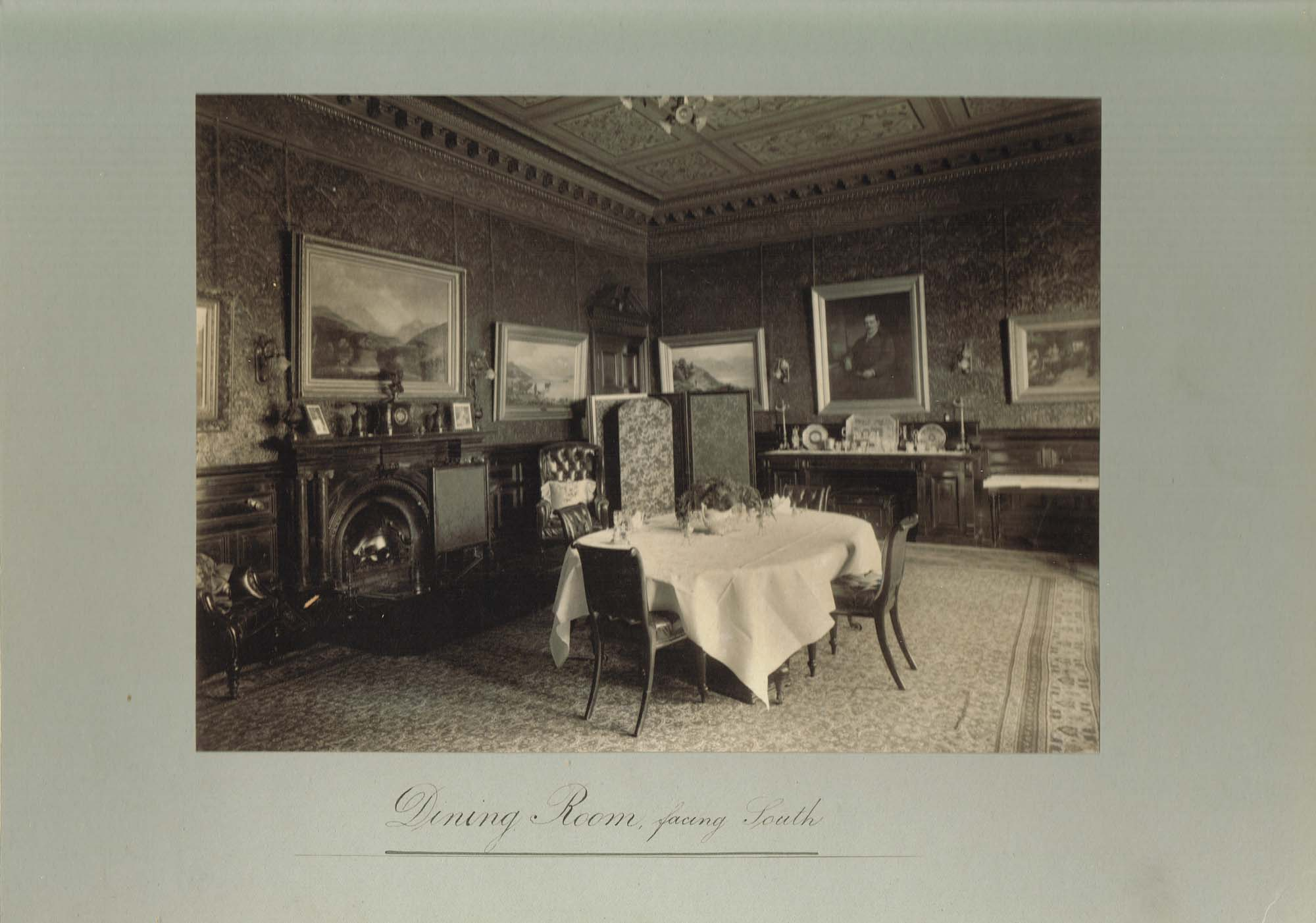 Black and white photograph of the Dining Room at Ralston