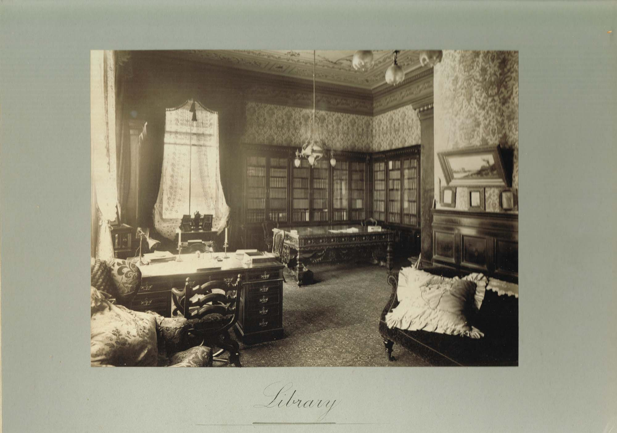 Black and white photograph of the Library at Ralston