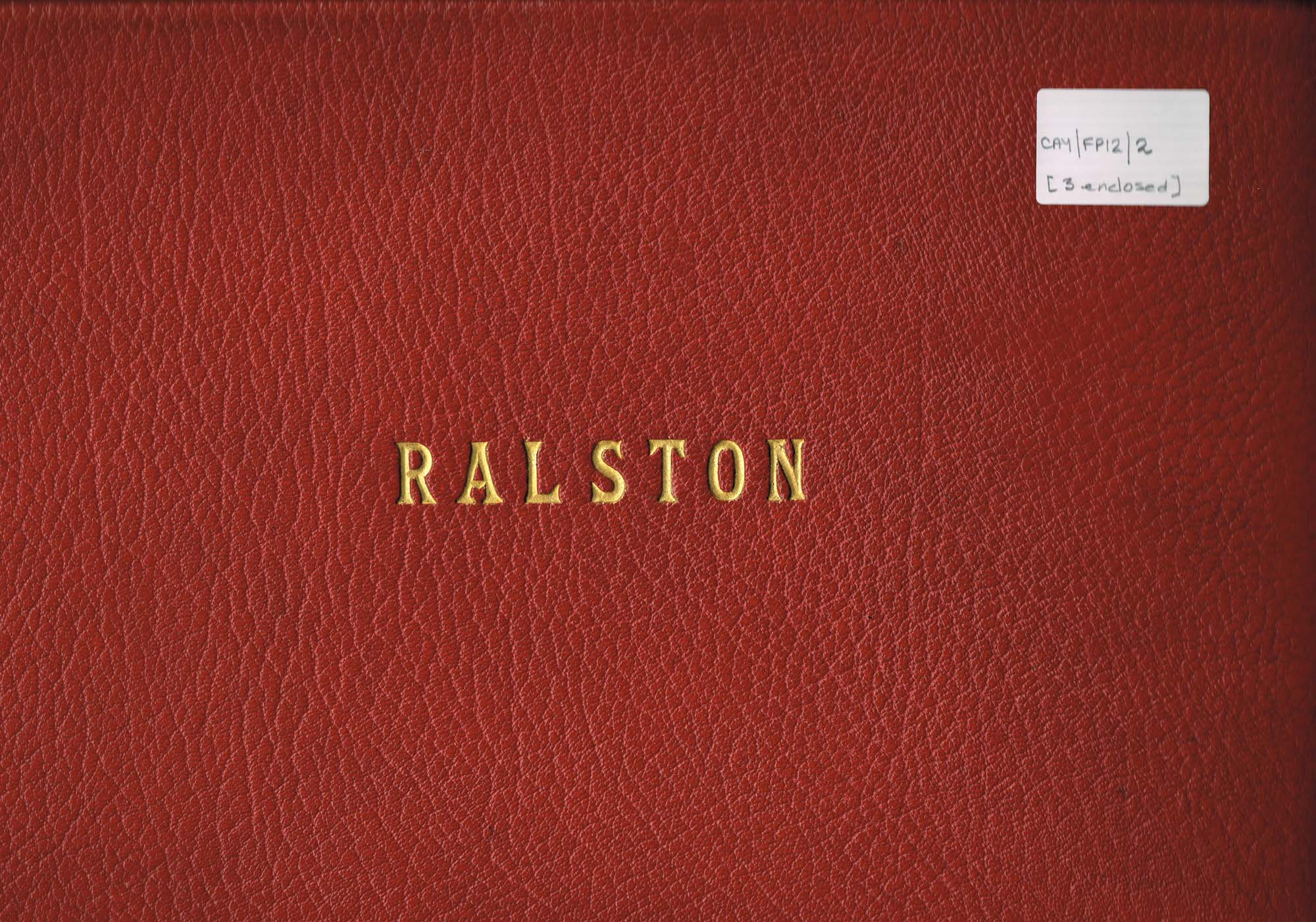 Colour photograph of album of prints of the interior of Ralston
