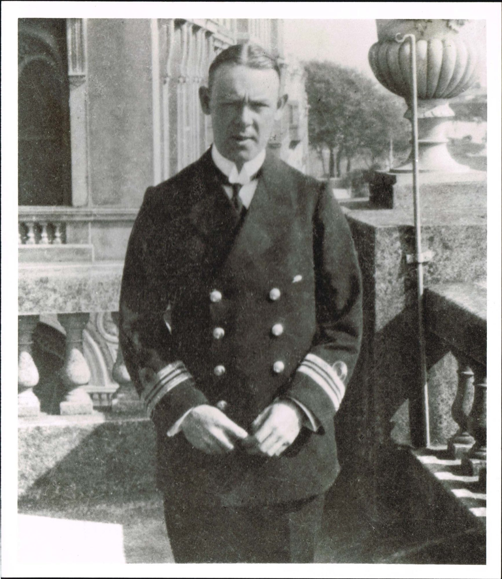 Black and white photograph of Lieutentant Commander August Cayzer when recalled to the Royal Navy in 1914