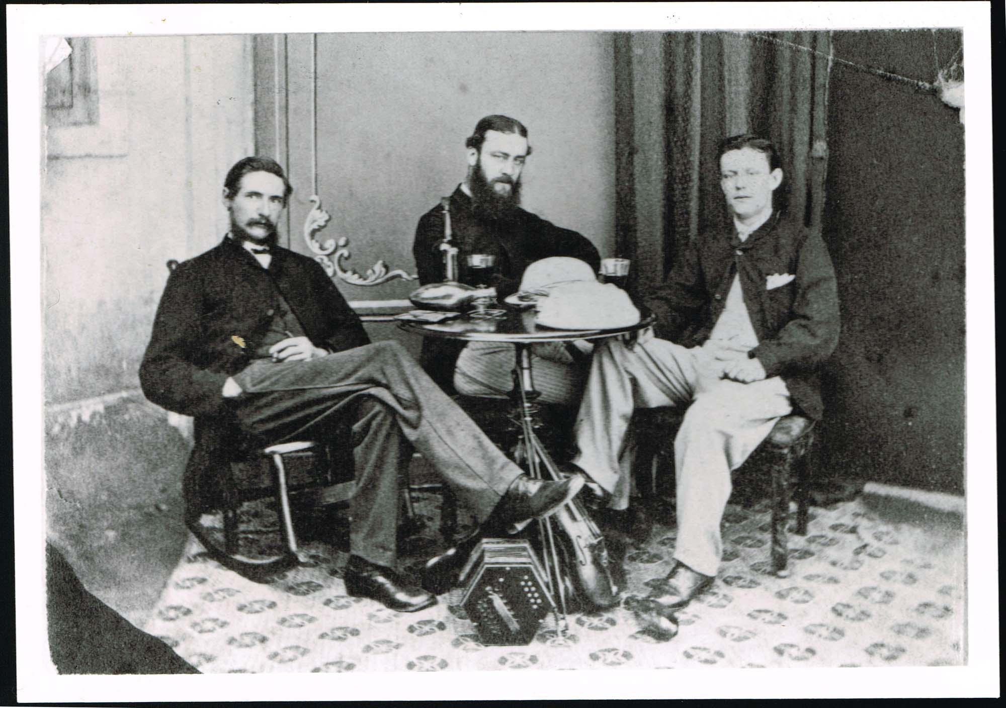 Black and white photograph of Charles Cayzer with two friends who shared a 'chummery' with him in Bombay in 1867