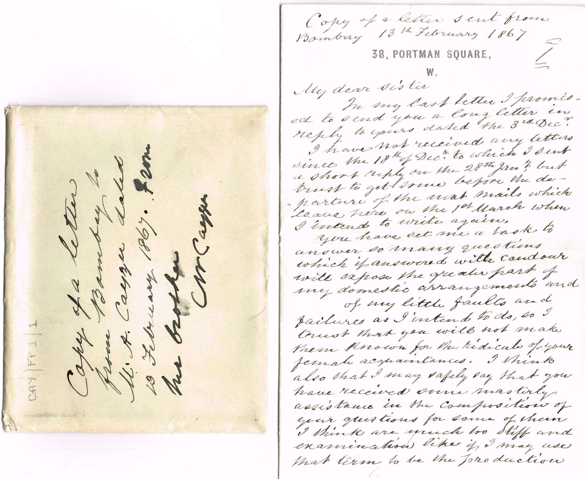 Digitised image of an envelope and first page of a contemporary handwritten copy of a letter dated 13 February 1867, from Charles Cayzer in India to his sister in England.