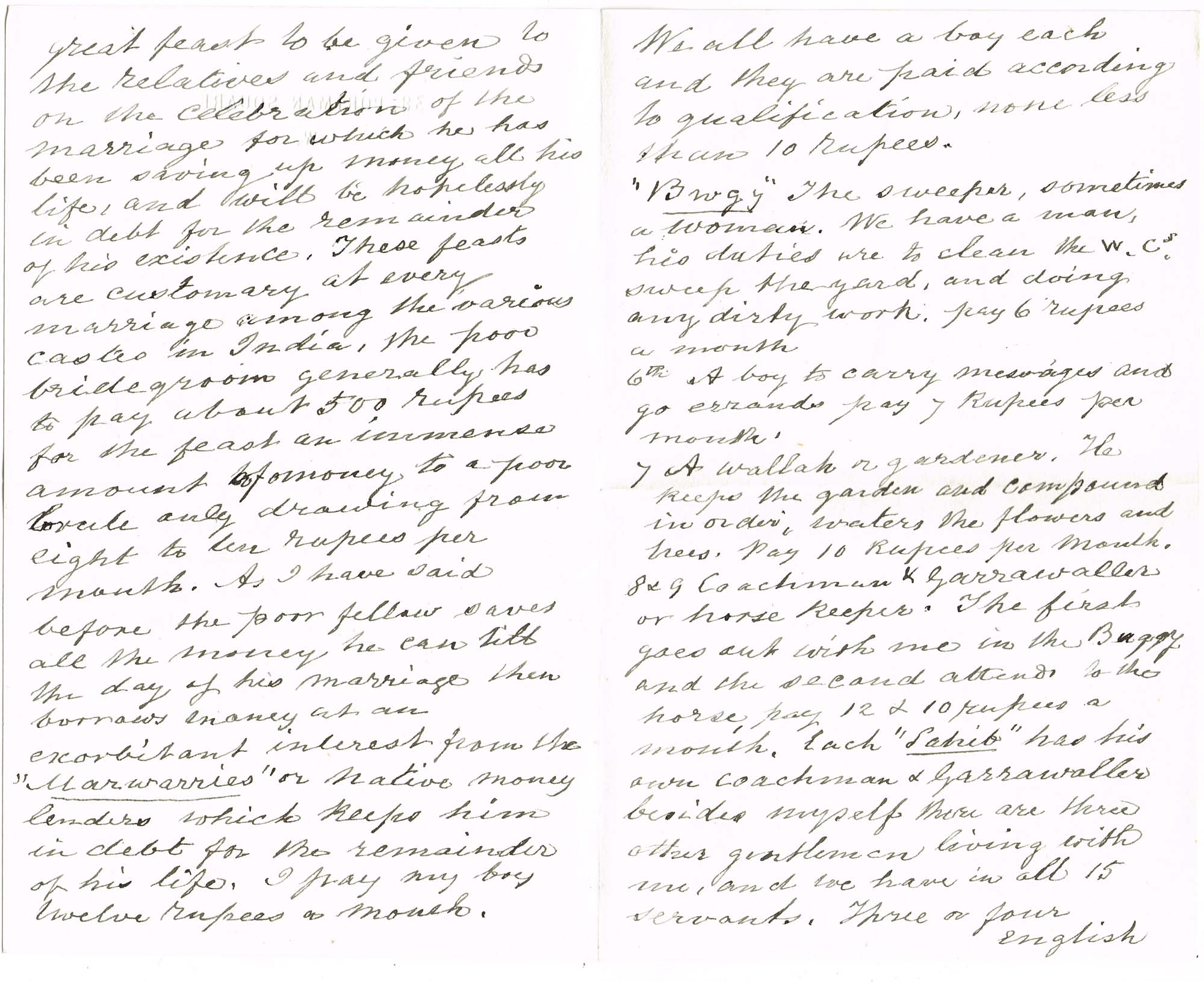 Digitised image of pages of a contemporary handwritten copy of a letter dated 13 February 1867, from Charles Cayzer in India to his sister in England.