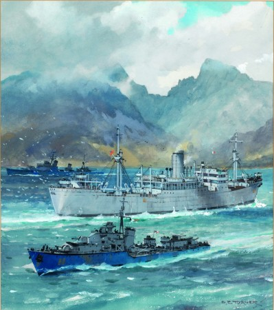 Painting of the Clan Lamont entering the Clyde during WWII by C.E. Taylor