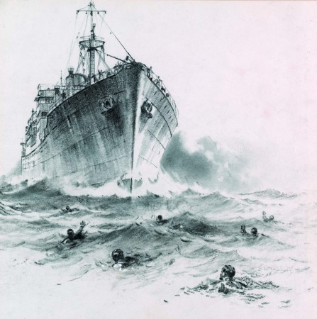 Print of the Clan Macbean having just rammed a German submarine early in WWII
