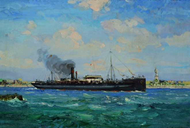 Painting of the Clan MacDonald passing through the Suez Canal by Lesley Arthur Wilcox