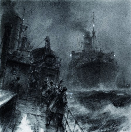 Print of the Clan Murray, narrowly avoiding damage in a North Sea convoy during WWII
