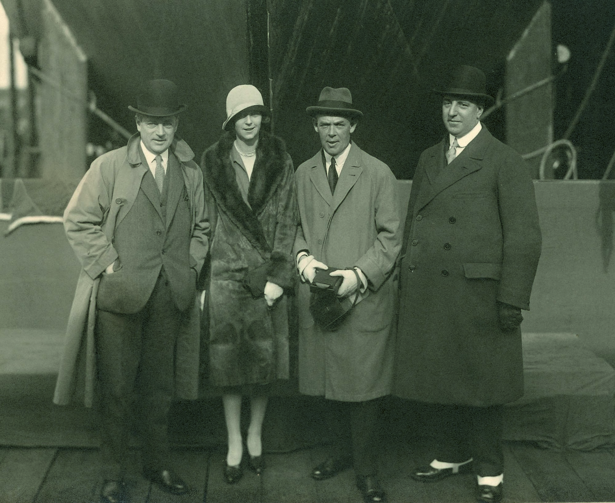 Black and white photograph of Sir August Cayzer Bt with his daughter, Heather, before the launch of the Clan Macdougall at the Greenock Dockyard in 1928