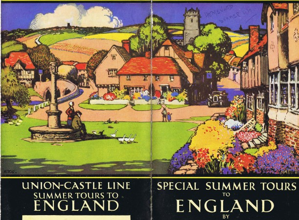 Colour wrap-around illustration for cover of Union-Castle brochure 1930