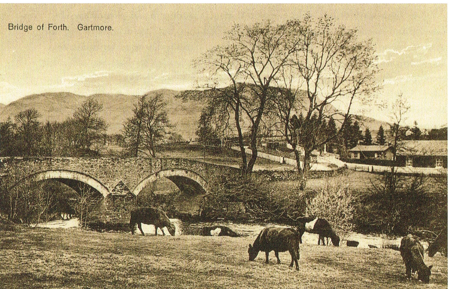 Black and white photograph of the Bridge of Forth on the Gartmore Estate