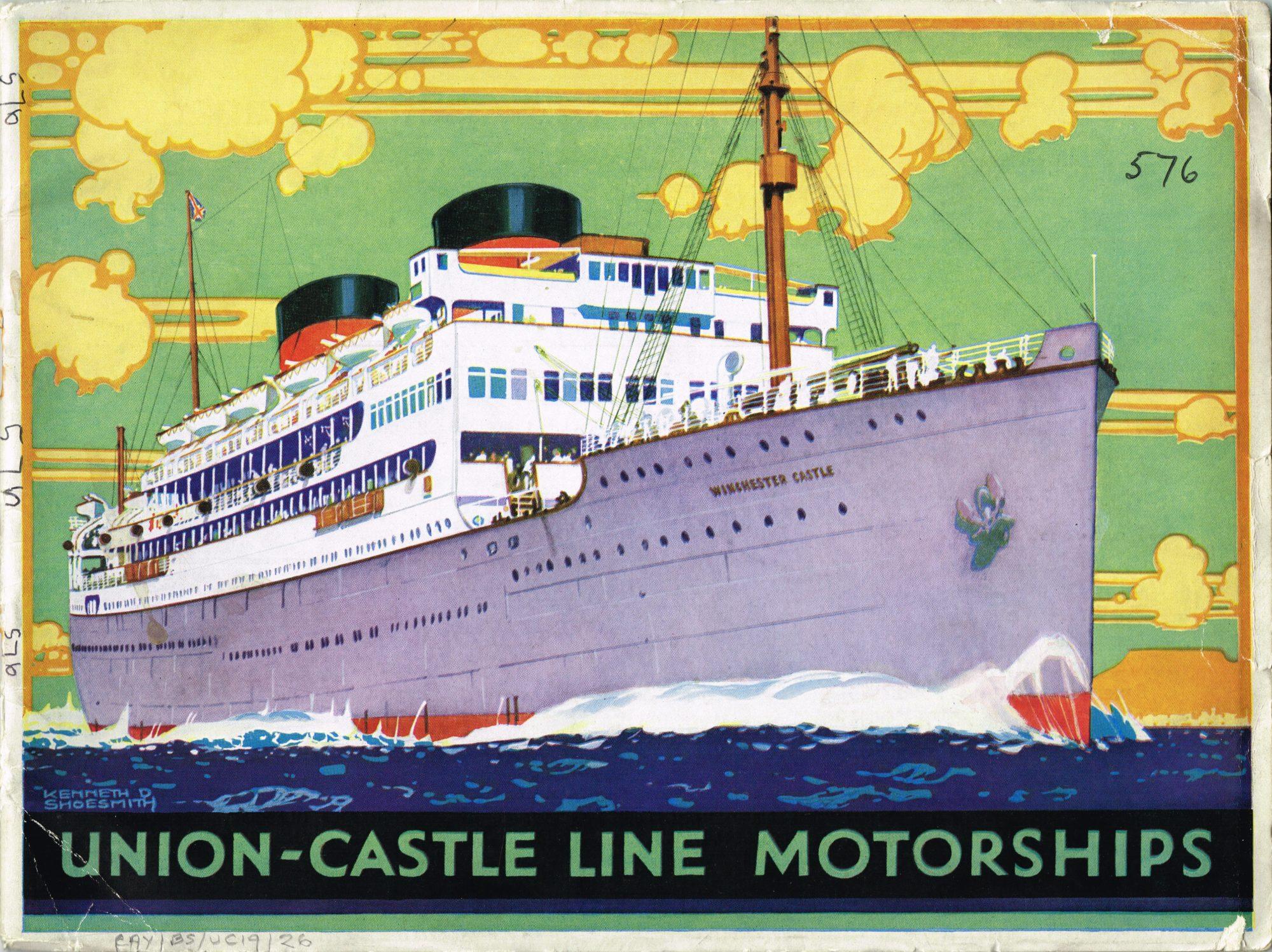 Colour front cover of Union-Castle Mailships brochure 1930