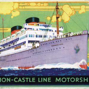 Colour front cover of Union-Castle Mailships brochure 1930 (interactive flipbook)