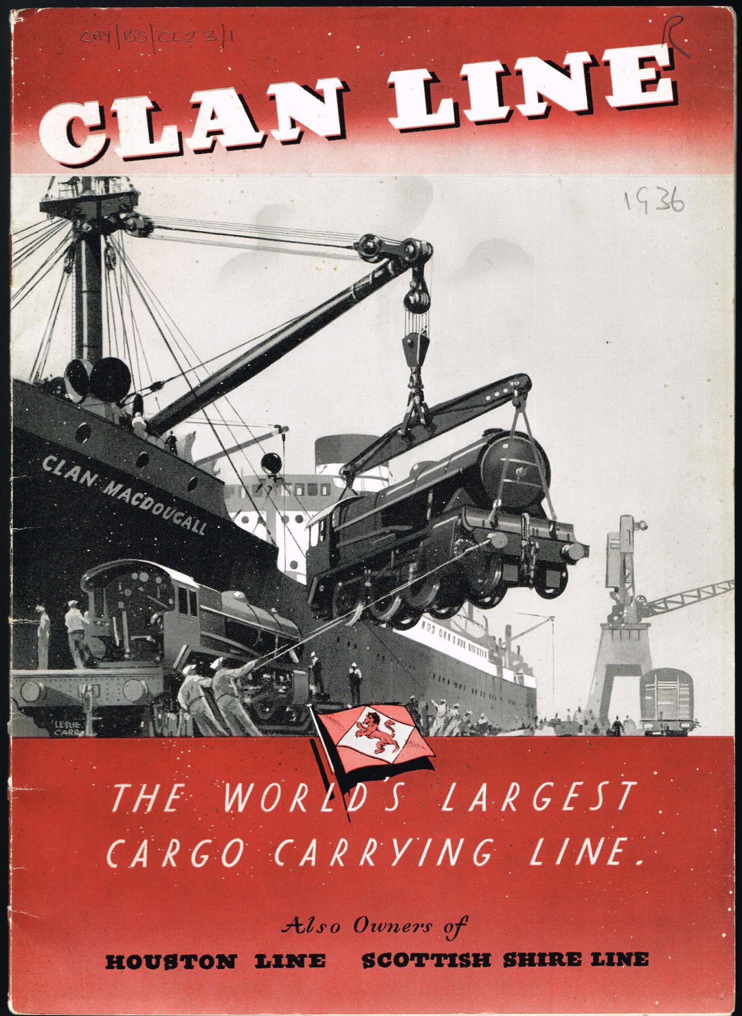 Clan Line brochure, 1936. Artwork showing the ship Clan MacDougall with a crane lifting a steam locomotive