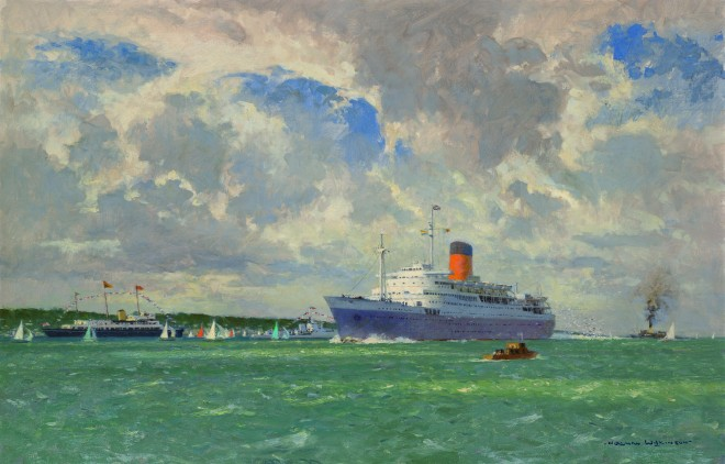 Painting of the Pendennis Castle on her maiden voyage 1959 by Norman Wilkinson
