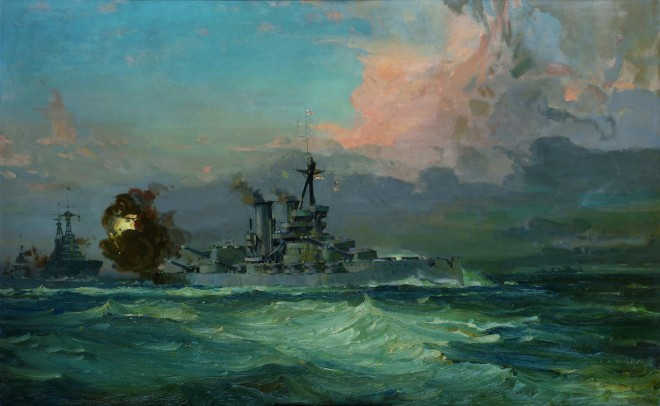 Painting of HMS Iron Duke at the Battle of Jutland 1916 by Lesley Arthur Wilcox