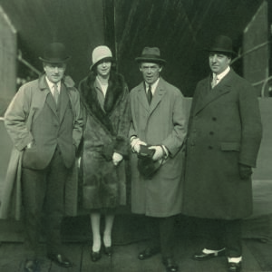 Black and white photograph of Sir August Cayzer Bart. with his daughter, Heather, before the launch of the Clan Macdougall at the Greenock Dockyard in 1928