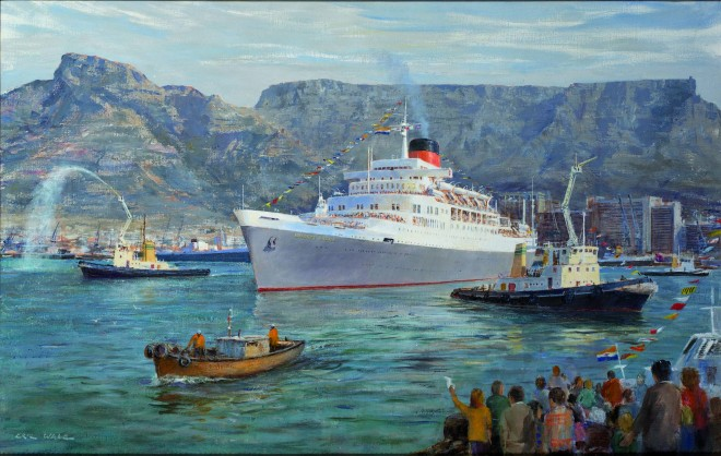 Painting of the Windsor Castle leaving Cape Town 1977 by Eric Wale