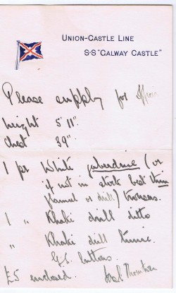 Handwritten order for a Union-Castle officer's uniform on Galway Castle letterhead