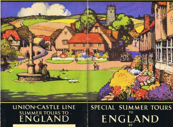 Colour wrap-around illustration for cover of Union-Castle brochure 1930