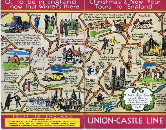 Colour wrap-around illustration for cover of Union-Castle brochure 1931