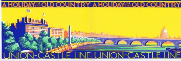 Colour wrap-around illustration for cover of Union-Castle brochure 1929/1930