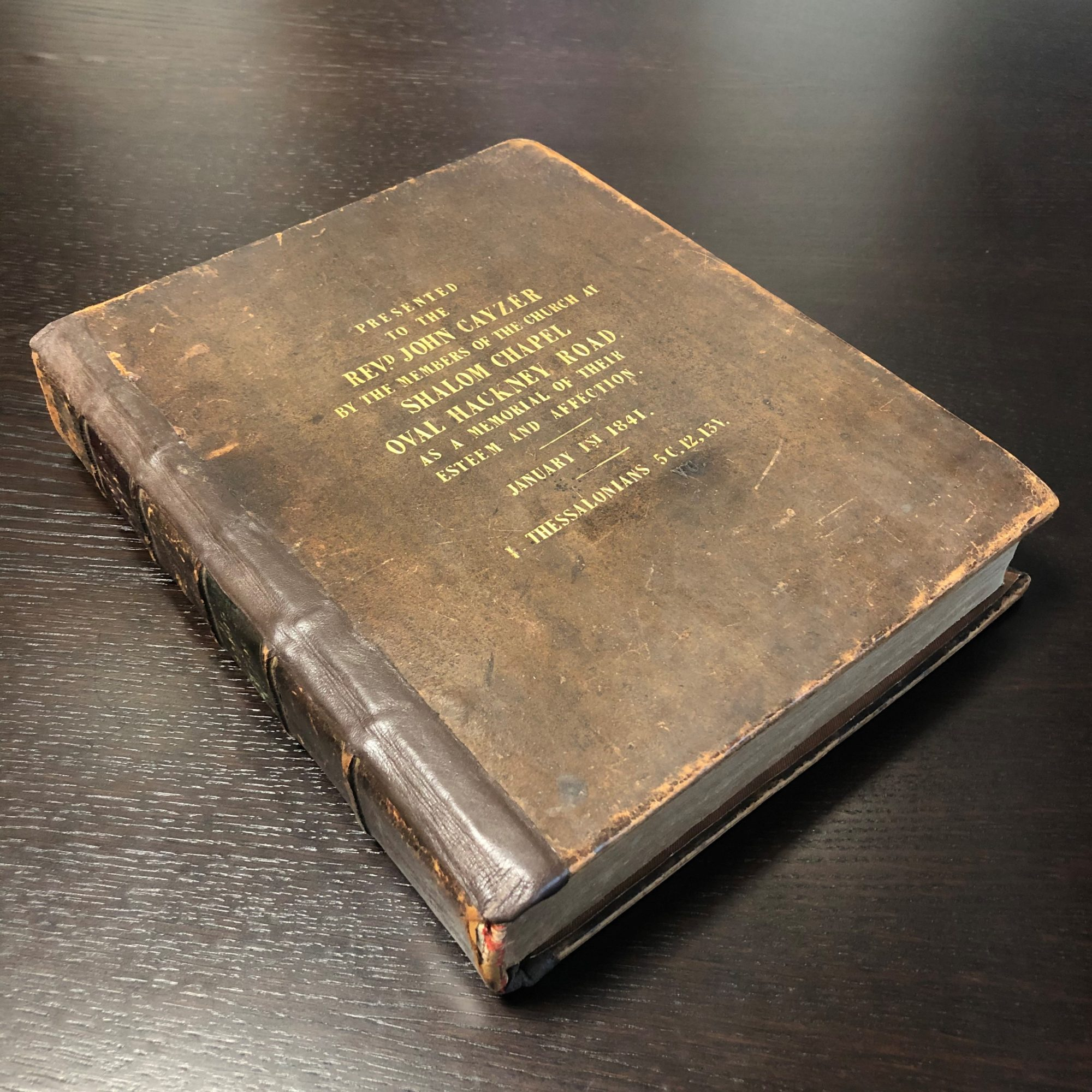 Colour photograph of Scott's Bible at The Cayzer Family Archive
