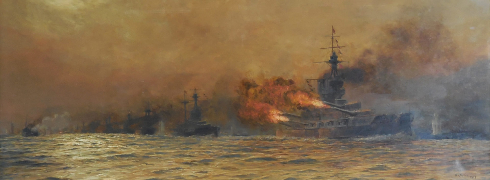 Painting of the Jutland with fire and explosions at sea