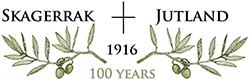 Logo with vine leaves illustration and the words Skagerrak Jutland