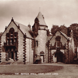 Sepia postcard vintage phototgraph of the Burgh Hall, Cove