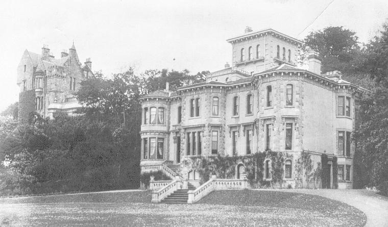 Old photograph of the house taken from an angle. Another large mansion visible behind Clevedon