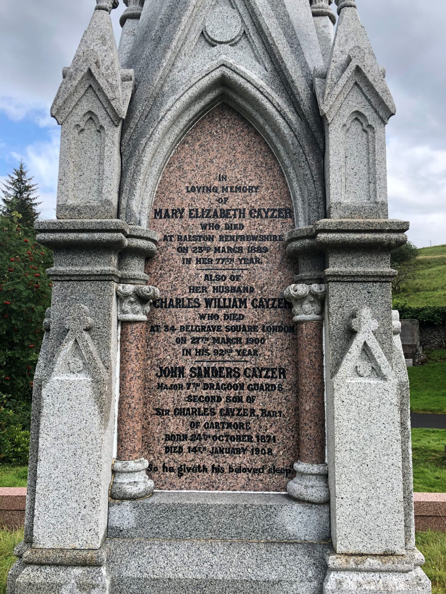 View of the inscriptions on the Cayzer grave monument, 2019
