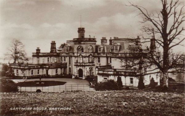 Sepia postcard view of Gartmore House, 1900s