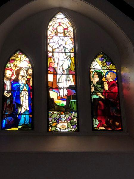 Stained glass memorial window in Craigrownie Parish Church, 2019