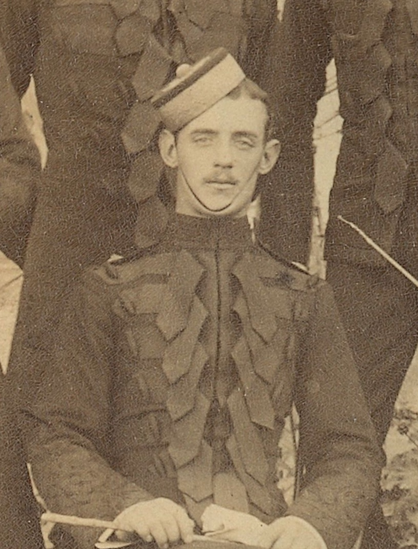 Sepia photograph of young man in Victorian military uniform