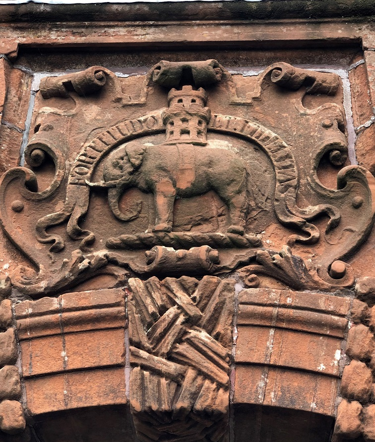 Architectural detail of the elephant above the entrance to Burgh Hall.