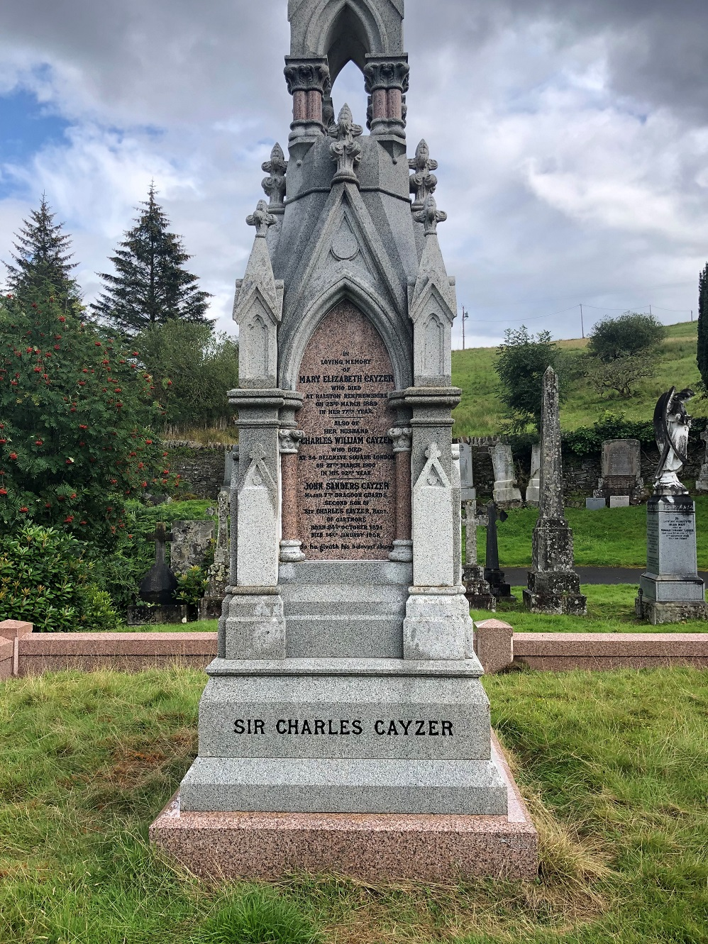 View of the Victorian-Gothic Cayzer grave monument, 2019