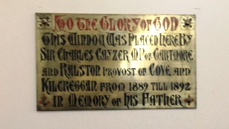 Brass memorial plate for Charles William Cayzer Senior