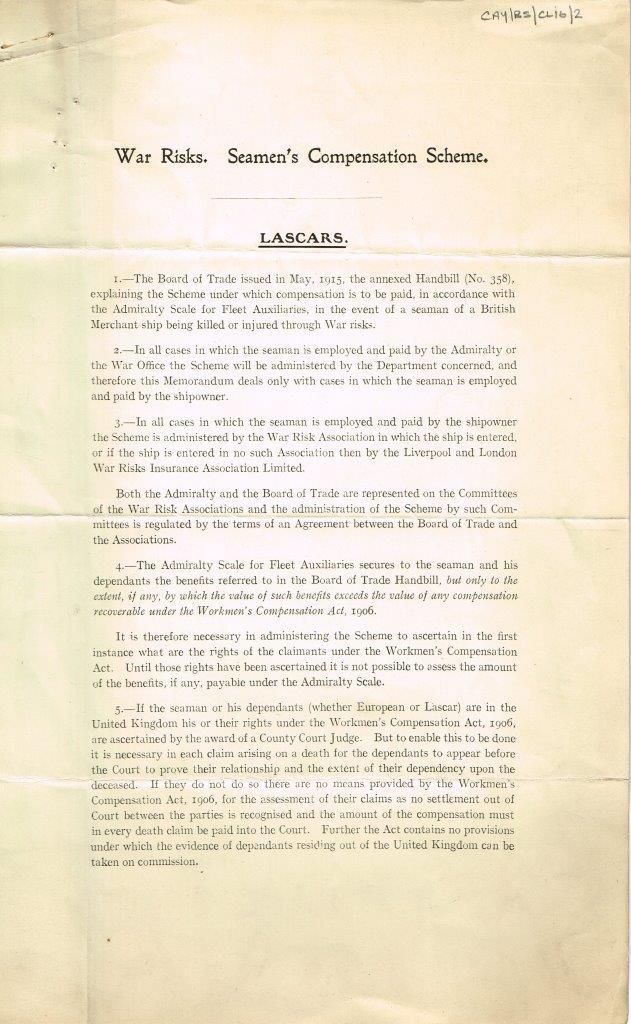 First page of document Seamen's Compensation Scheme - Lascars