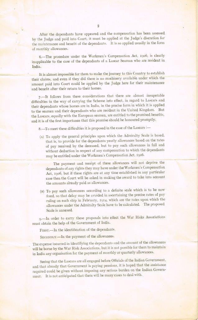 Second page of document Seamen's Compensation Scheme - Lascars