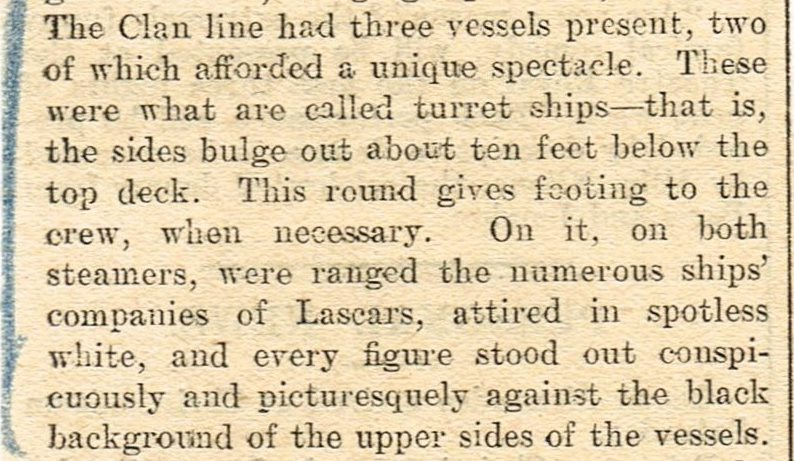 Newspaper clipping re Clan Line ships at the centenary celebrations of The Comet, Glasgow 1912