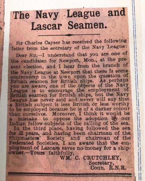 Newspaper clipping: letter from the secretary of the Navy League,